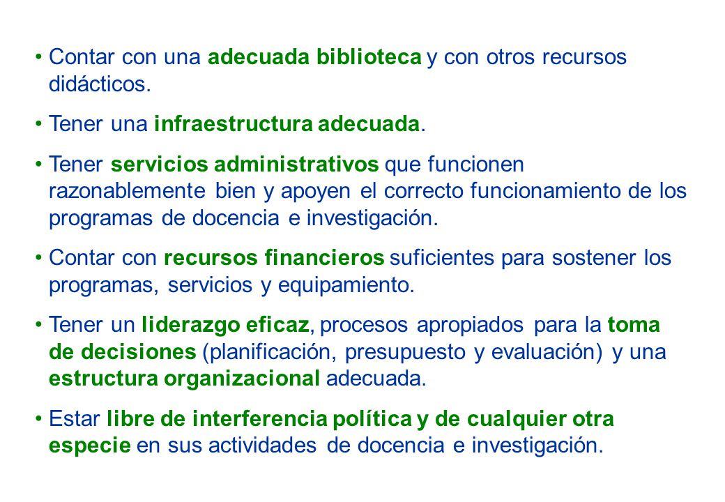 Contar con una adecuada biblioteca y con otros recursos didácticos.
