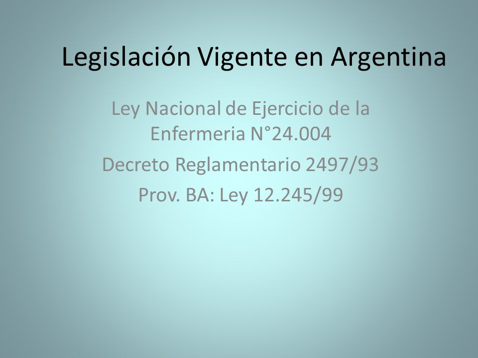 Legislación Vigente en Argentina