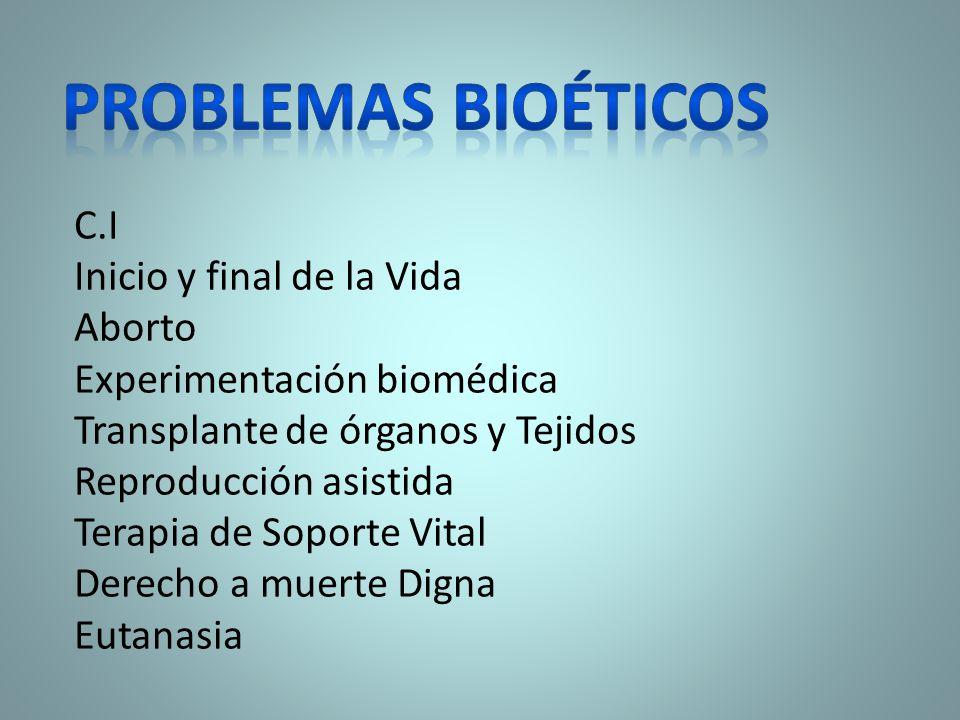 Problemas bioéticos C.I Inicio y final de la Vida Aborto