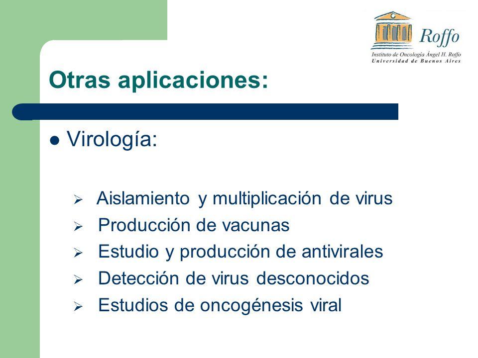 Otras aplicaciones: Virología: Aislamiento y multiplicación de virus