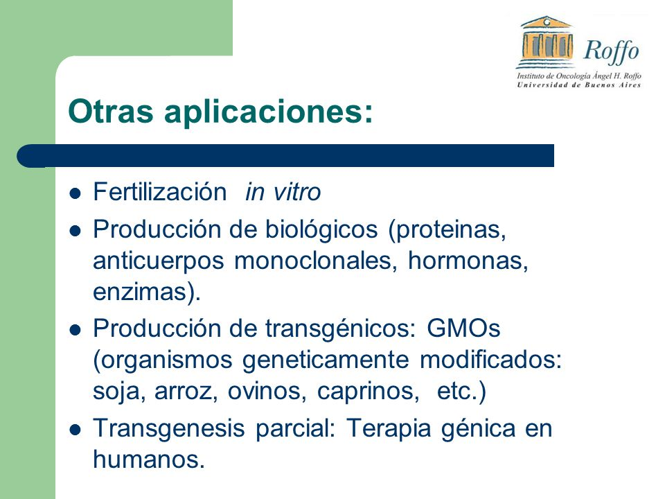 Otras aplicaciones: Fertilización in vitro