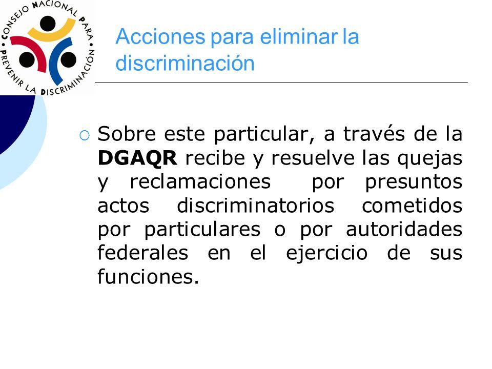 Acciones para eliminar la discriminación