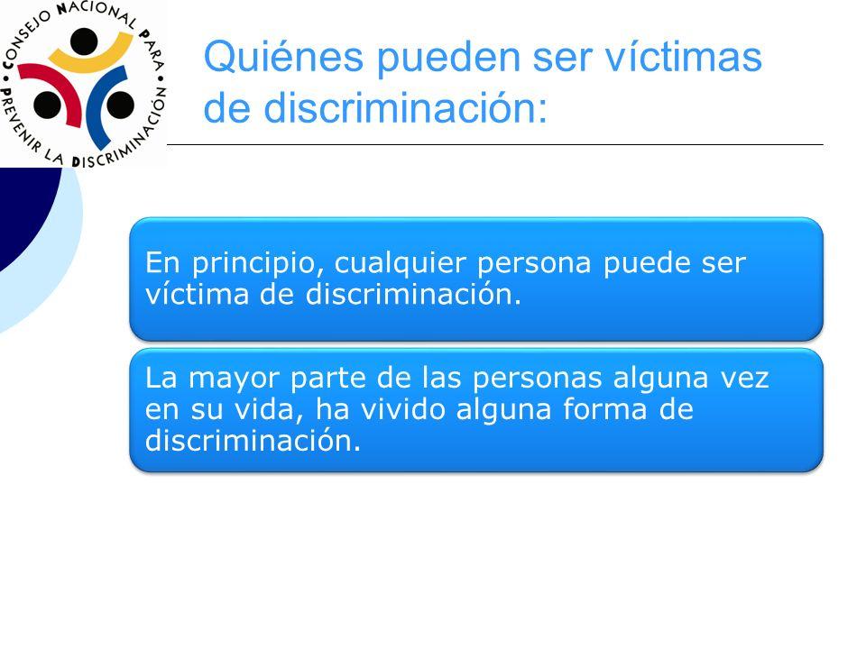 Quiénes pueden ser víctimas de discriminación: