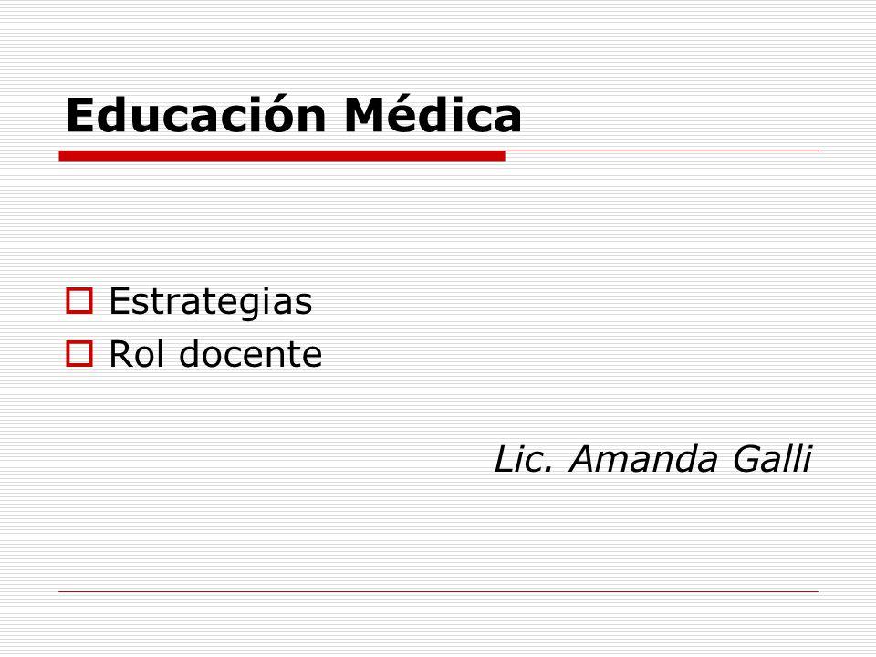 Educación Médica Estrategias Rol docente Lic. Amanda Galli