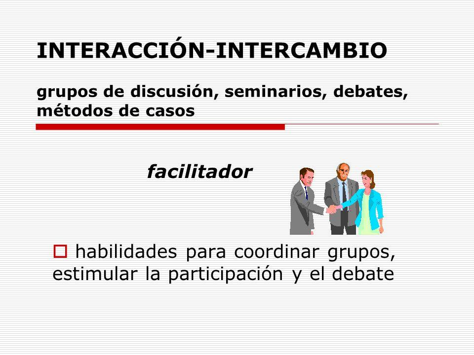INTERACCIÓN-INTERCAMBIO grupos de discusión, seminarios, debates, métodos de casos