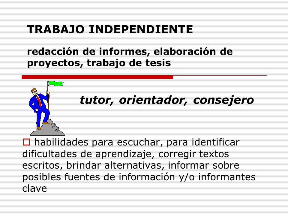 TRABAJO INDEPENDIENTE redacción de informes, elaboración de proyectos, trabajo de tesis