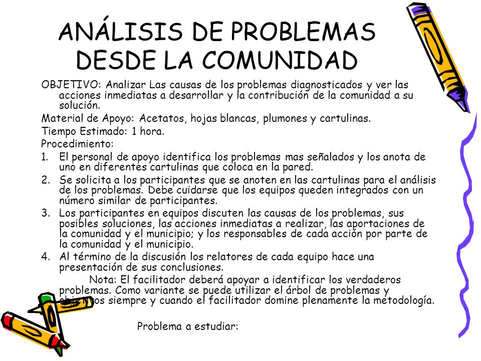 ANÁLISIS DE PROBLEMAS DESDE LA COMUNIDAD
