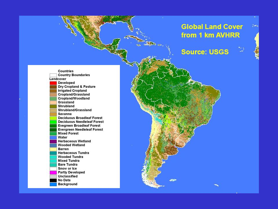 Global Land Cover from 1 km AVHRR Source: USGS