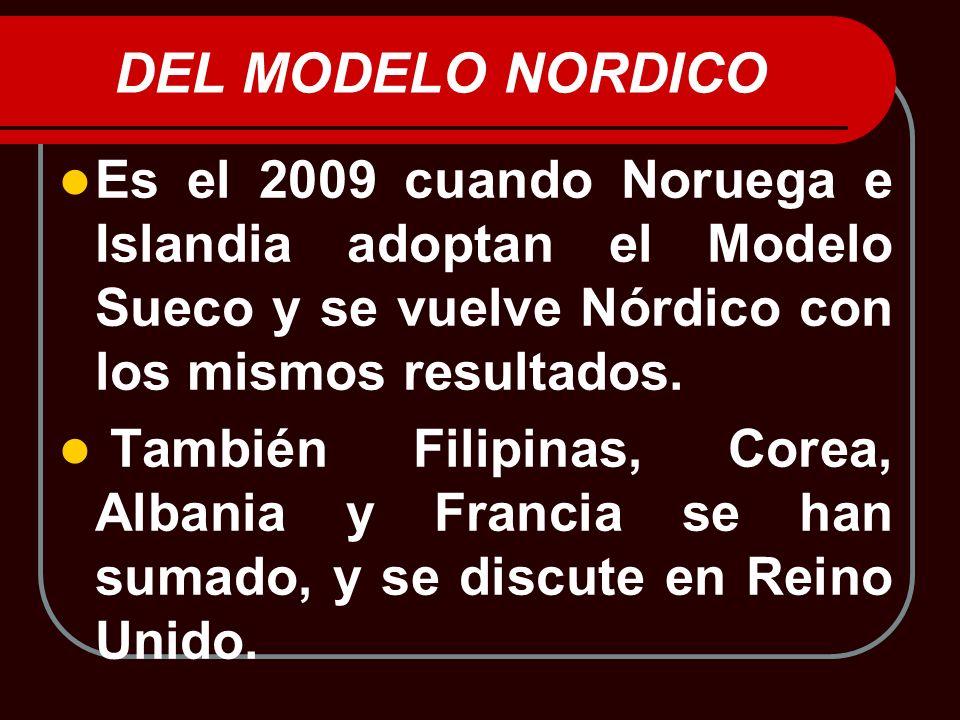 DEL MODELO NORDICO Es el 2009 cuando Noruega e Islandia adoptan el Modelo Sueco y se vuelve Nórdico con los mismos resultados.