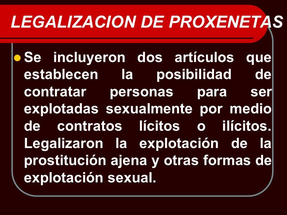 LEGALIZACION DE PROXENETAS