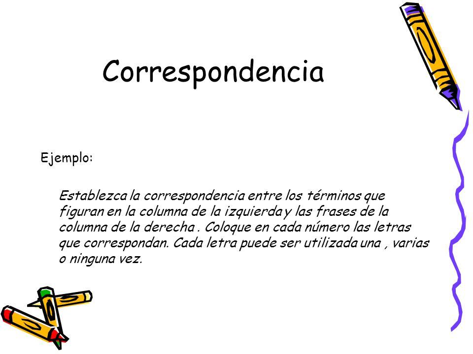 Correspondencia Ejemplo: