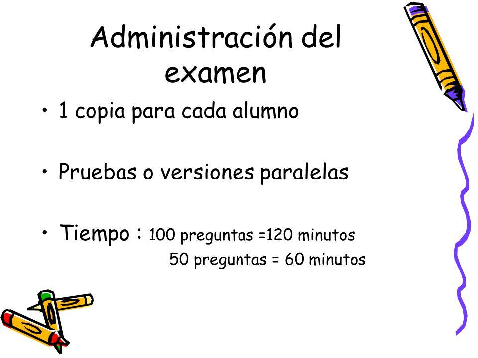 Administración del examen