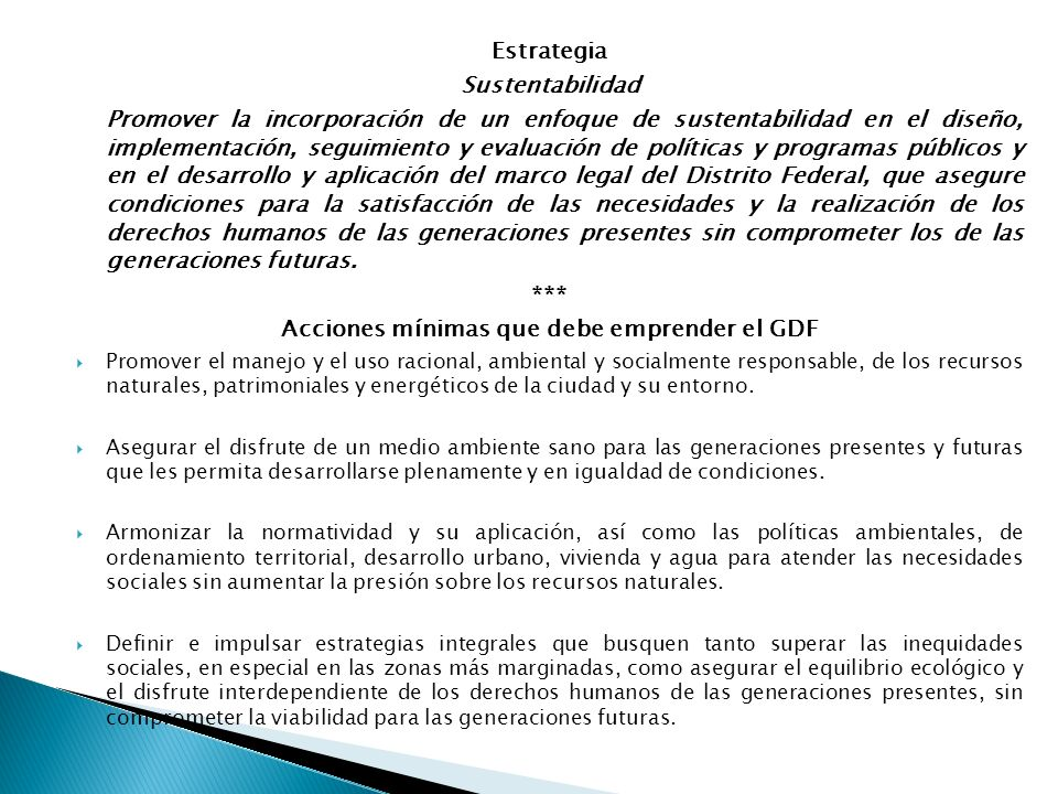 Acciones mínimas que debe emprender el GDF