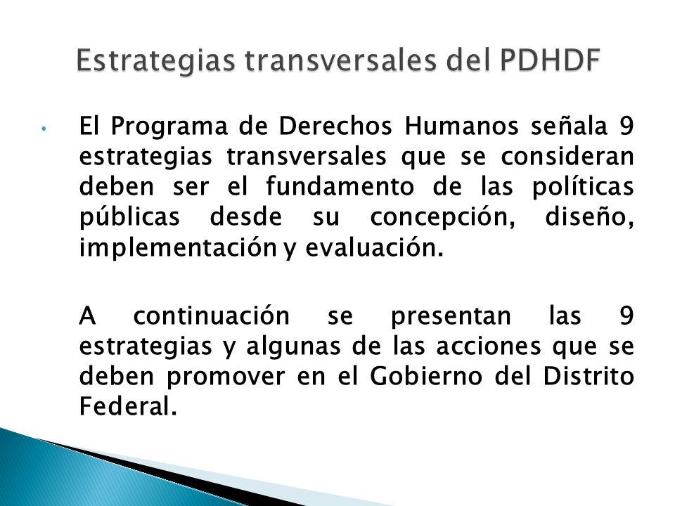 Estrategias transversales del PDHDF