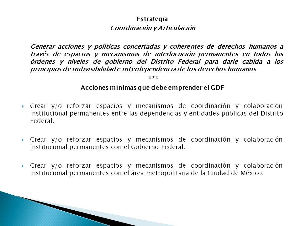 Coordinación y Articulación Acciones mínimas que debe emprender el GDF