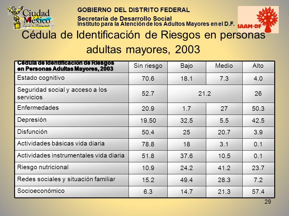 Cédula de Identificación de Riesgos en personas adultas mayores, 2003