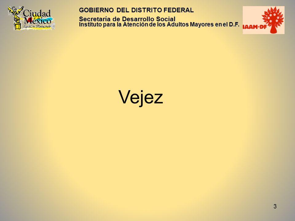 Vejez GOBIERNO DEL DISTRITO FEDERAL Secretaría de Desarrollo Social