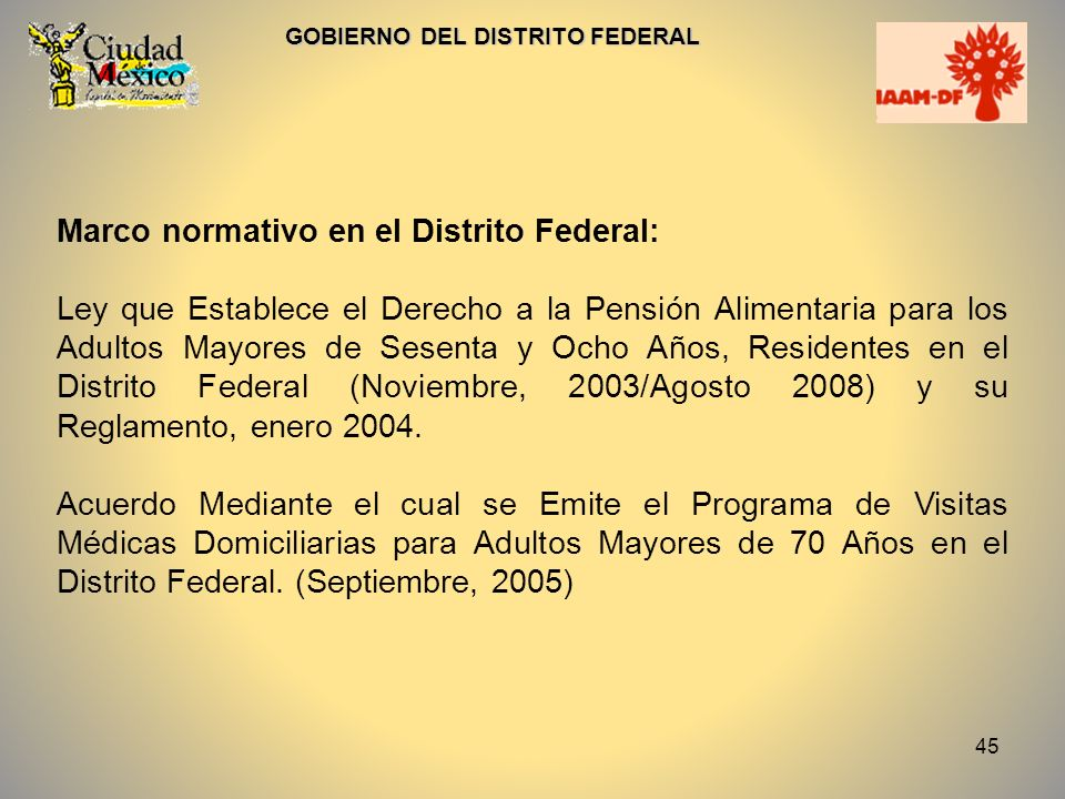 Marco normativo en el Distrito Federal: