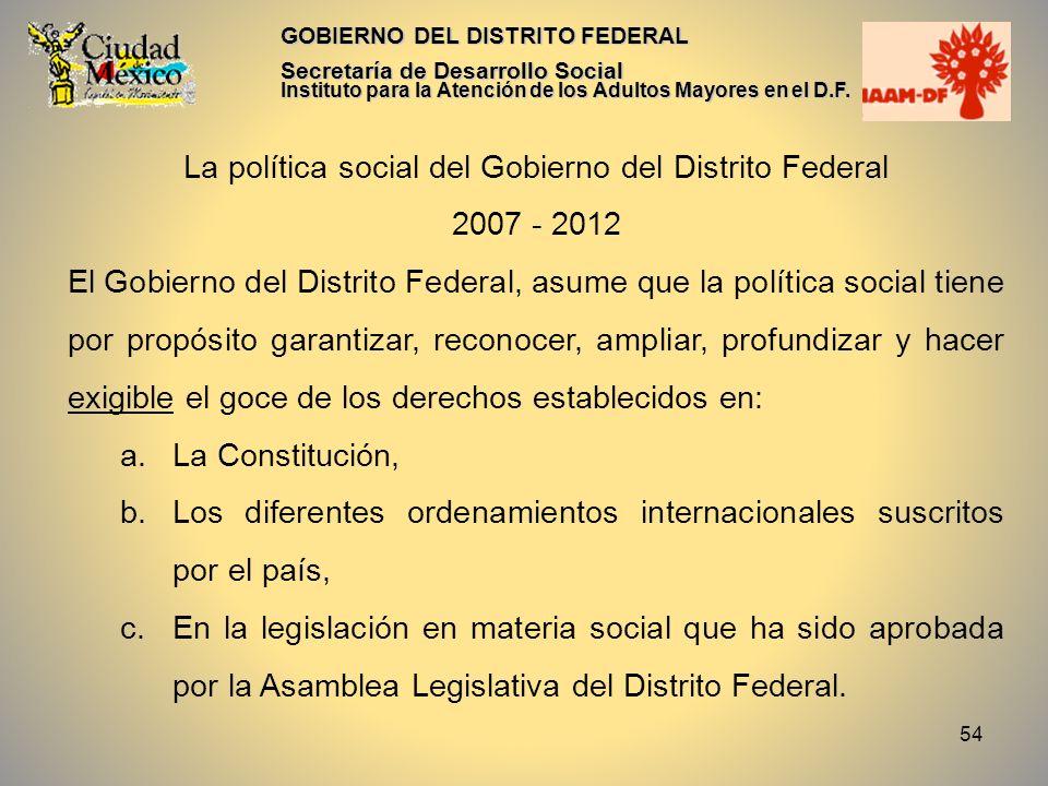 La política social del Gobierno del Distrito Federal
