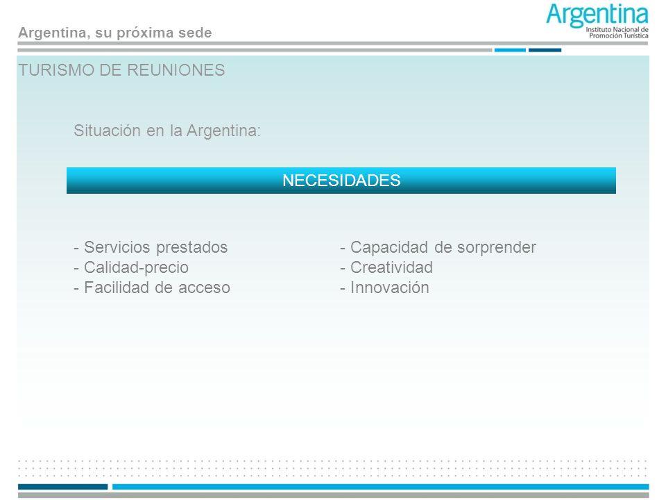 TURISMO DE REUNIONES Situación en la Argentina: NECESIDADES. Servicios prestados. Calidad-precio.