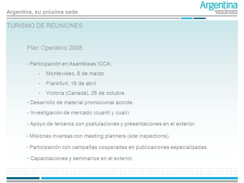TURISMO DE REUNIONES Plan Operativo 2008: