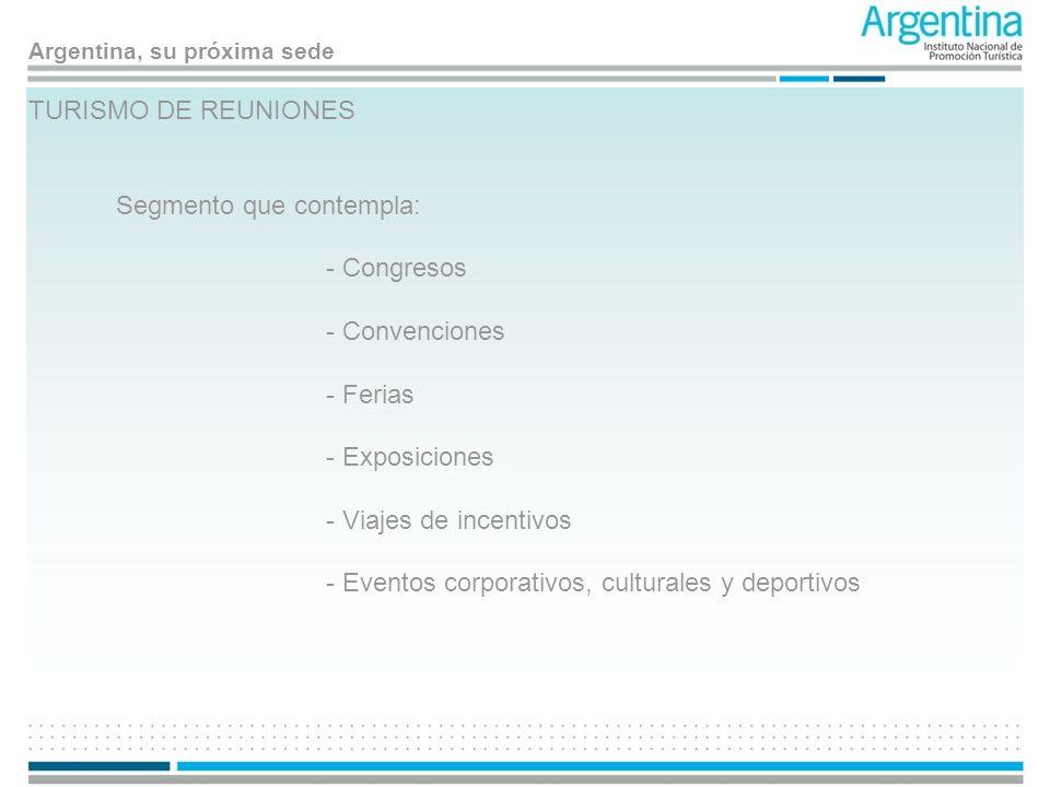 TURISMO DE REUNIONES Segmento que contempla: - Congresos. - Convenciones. - Ferias. - Exposiciones.