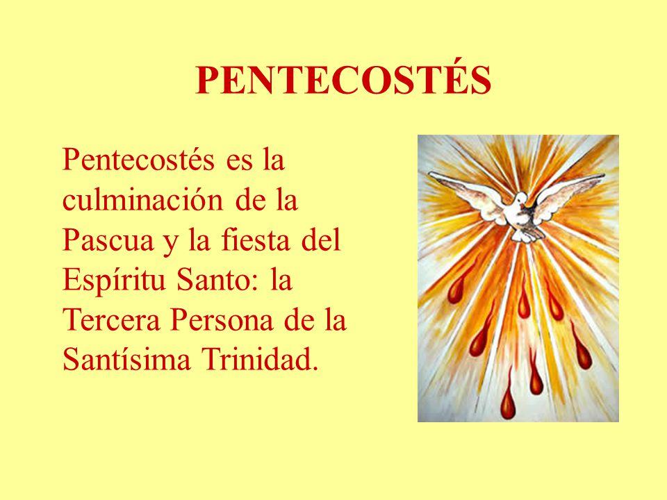 PENTECOSTÉS Pentecostés es la culminación de la Pascua y la fiesta del Espíritu Santo: la Tercera Persona de la Santísima Trinidad.