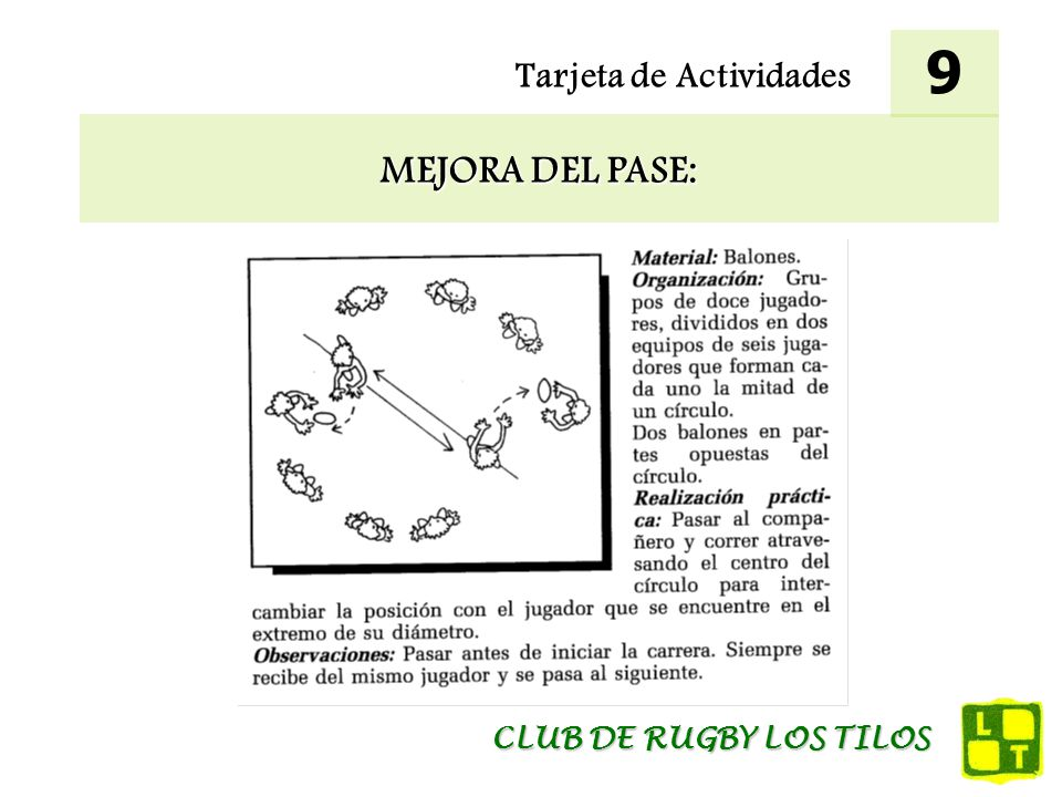 9 Tarjeta de Actividades MEJORA DEL PASE: CLUB DE RUGBY LOS TILOS