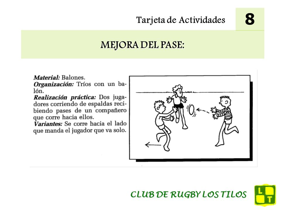 8 Tarjeta de Actividades MEJORA DEL PASE: CLUB DE RUGBY LOS TILOS
