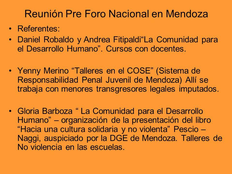 Reunión Pre Foro Nacional en Mendoza