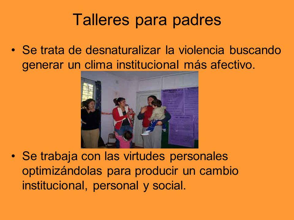 Talleres para padres Se trata de desnaturalizar la violencia buscando generar un clima institucional más afectivo.