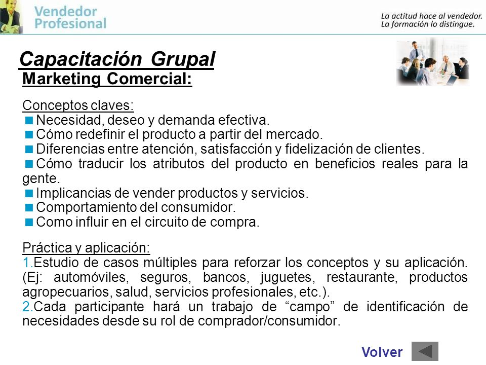 Capacitación Grupal Marketing Comercial: Conceptos claves: