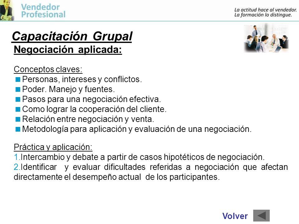 Capacitación Grupal Negociación aplicada: Conceptos claves: