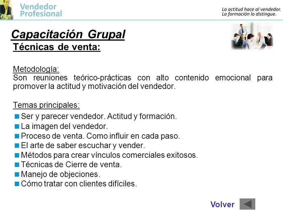Capacitación Grupal Técnicas de venta: Metodología:
