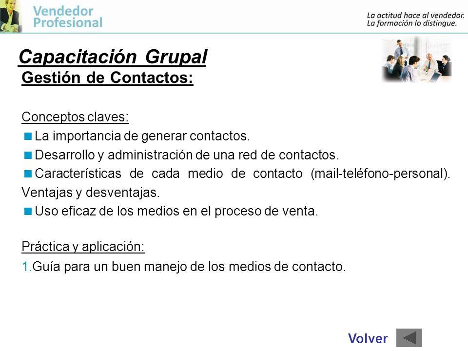 Capacitación Grupal Gestión de Contactos: Conceptos claves: