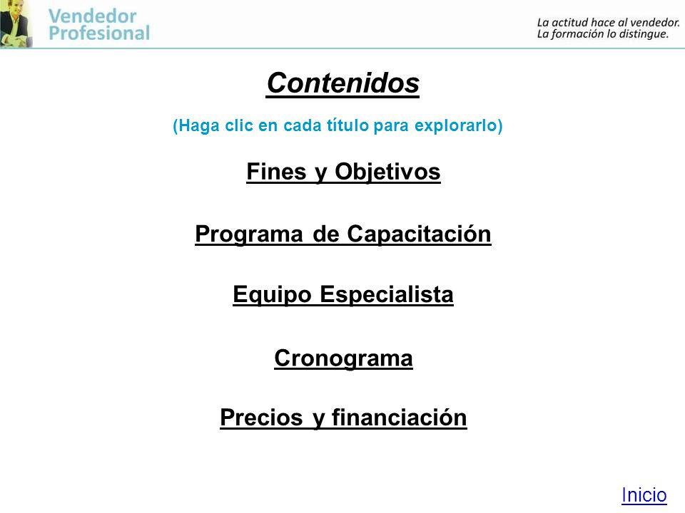 Programa de Capacitación Precios y financiación