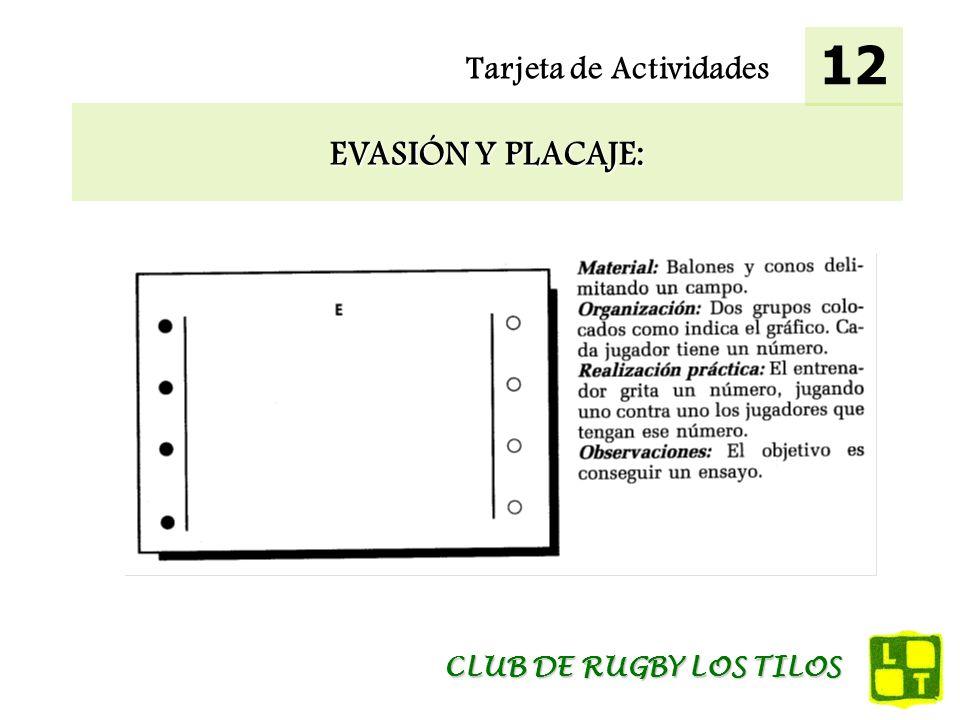 12 Tarjeta de Actividades EVASIÓN Y PLACAJE: CLUB DE RUGBY LOS TILOS