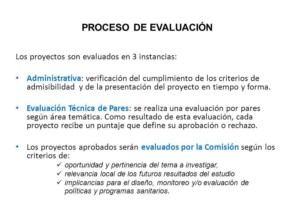 PROCESO DE EVALUACIÓN Los proyectos son evaluados en 3 instancias: