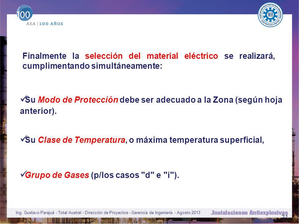 Su Clase de Temperatura, o máxima temperatura superficial,