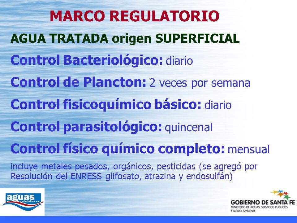 Control Bacteriológico: diario Control de Plancton: 2 veces por semana