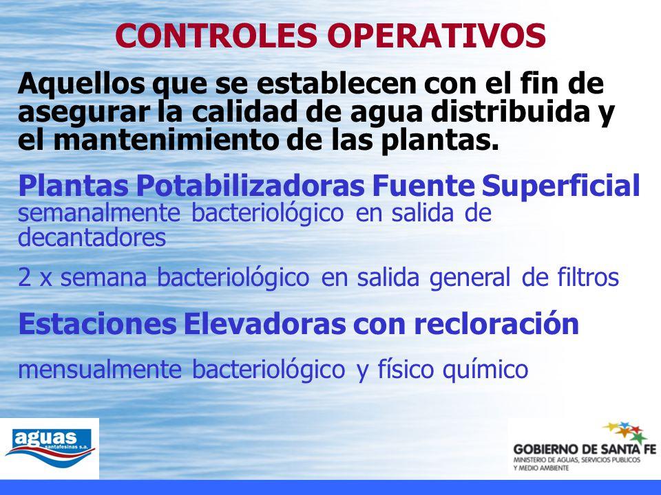 CONTROLES OPERATIVOS Aquellos que se establecen con el fin de asegurar la calidad de agua distribuida y el mantenimiento de las plantas.