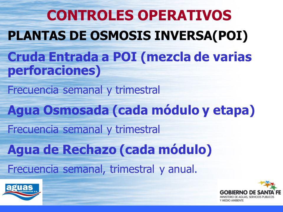 CONTROLES OPERATIVOS PLANTAS DE OSMOSIS INVERSA(POI)