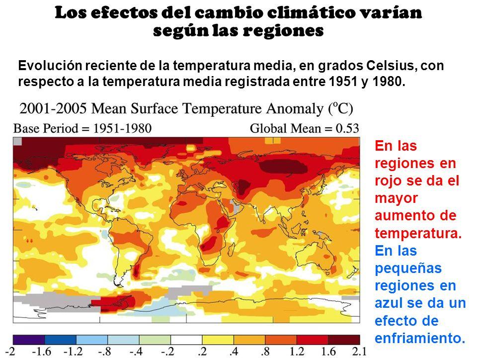Los efectos del cambio climático varían según las regiones