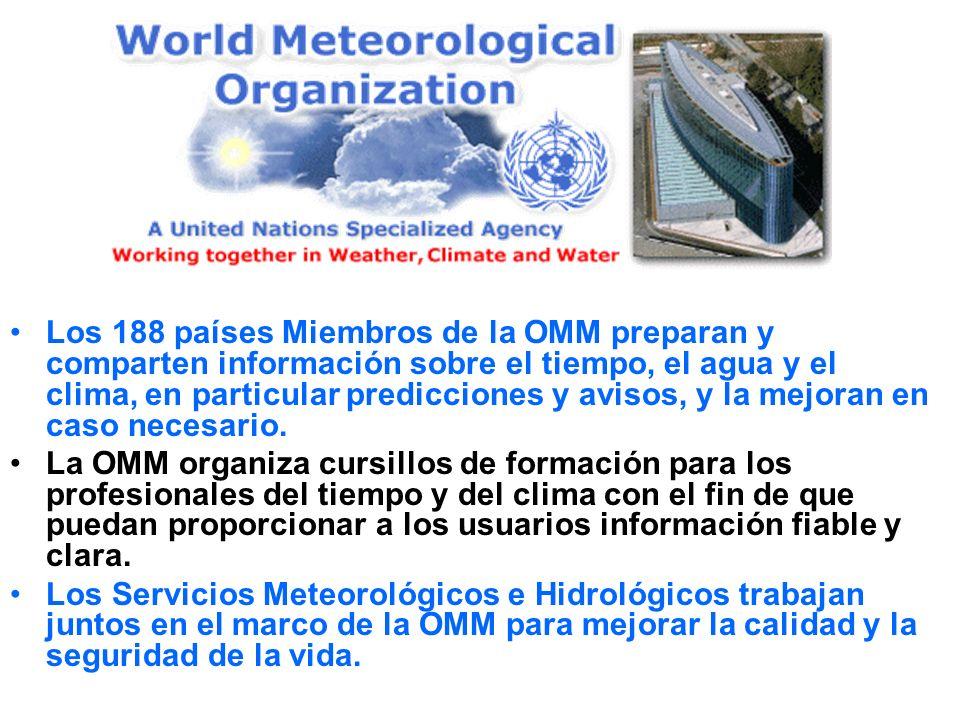 Los 188 países Miembros de la OMM preparan y comparten información sobre el tiempo, el agua y el clima, en particular predicciones y avisos, y la mejoran en caso necesario.