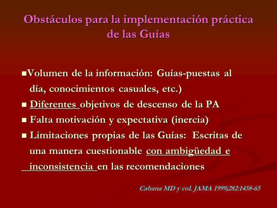 Obstáculos para la implementación práctica de las Guías