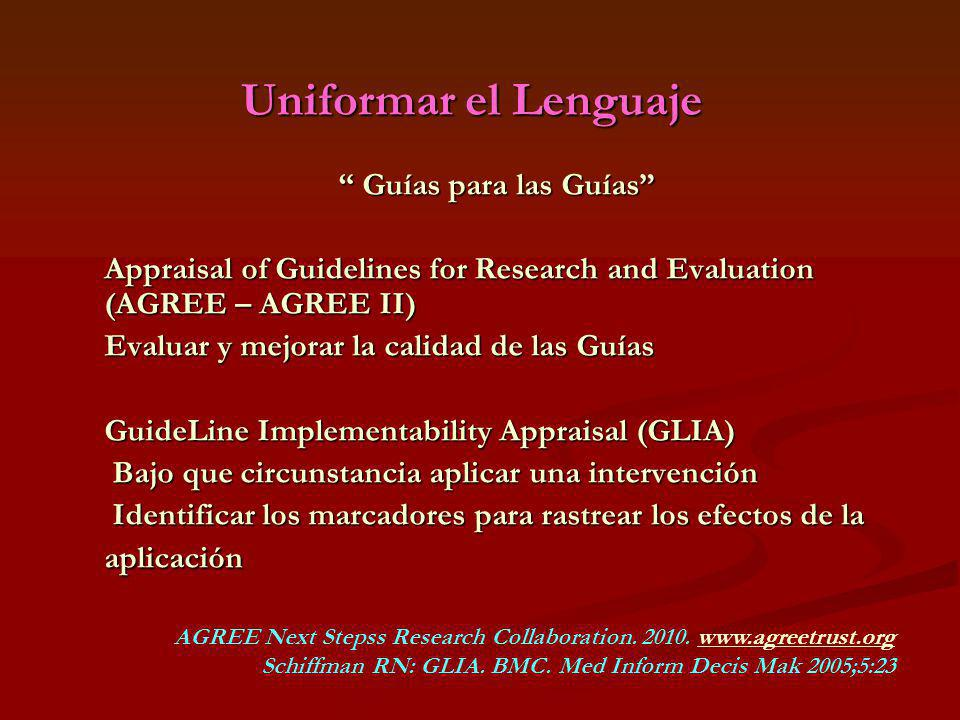 Uniformar el Lenguaje Guías para las Guías