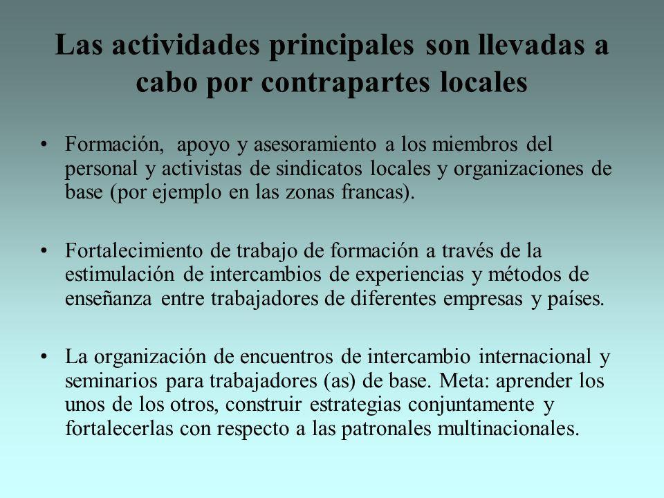 Las actividades principales son llevadas a cabo por contrapartes locales