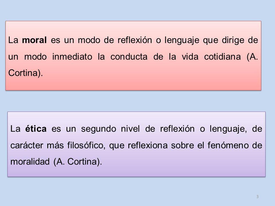 La moral es un modo de reflexión o lenguaje que dirige de un modo inmediato la conducta de la vida cotidiana (A. Cortina).