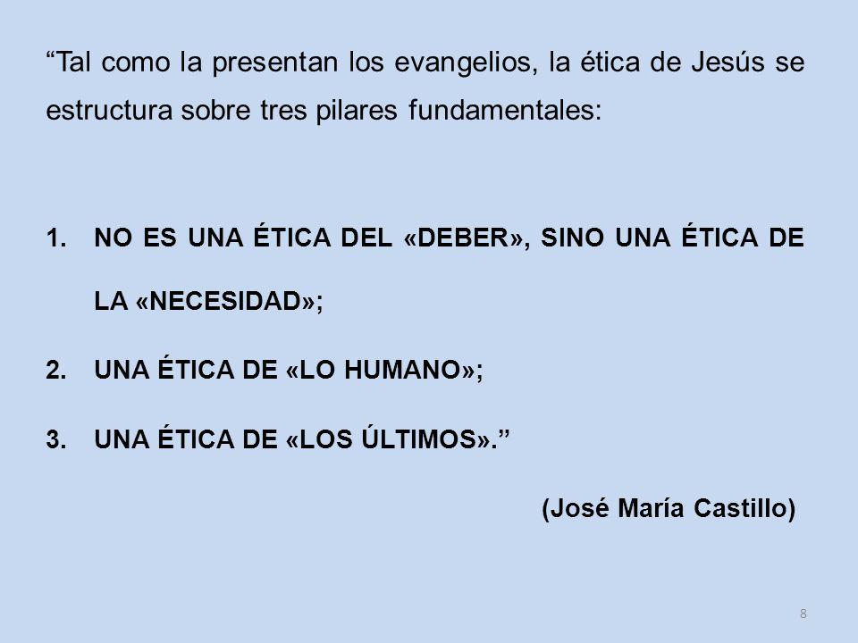 Tal como la presentan los evangelios, la ética de Jesús se estructura sobre tres pilares fundamentales:
