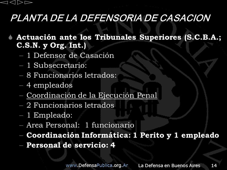 PLANTA DE LA DEFENSORIA DE CASACION